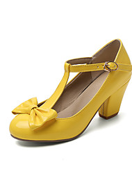 cheap -Women's Heels Chunky Heel Round Toe Bowknot Patent Leather Sweet / Minimalism Spring & Summer Black / Yellow / Red / Party & Evening