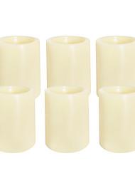 Недорогие -6 шт. 4 * 5 см пластиковые беспламенные светодиодные обету свечи на батарейках электрический чай свет реалистичные мерцающее пламя темного цвета слоновой кости ровный край с 4 / 8ч таймер на Рождество