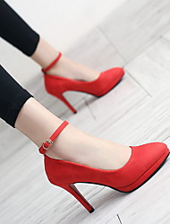 cheap -Women's Boots Stiletto Heel Round Toe Suede Booties / Ankle Boots Winter Black / Red