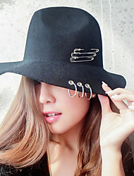 cheap -Unisex Basic Cotton Polyester Fedora Hat-Solid Colored All Seasons Black