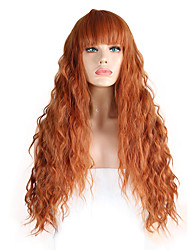 cheap -Synthetic Lace Front Wig Wavy Neat Bang Lace Front Wig Long Orange Synthetic Hair 18-26 inch Women's Adjustable Heat Resistant Party Brown