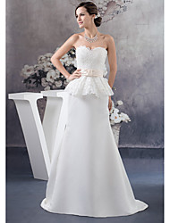 cheap -Sheath / Column Wedding Dresses Sweetheart Neckline Court Train Lace Satin Strapless with Sashes / Ribbons Beading Ruffles 2021