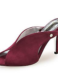 cheap -Women's Sandals Stiletto Heel Peep Toe Rivet Suede Minimalism Summer Black / Wine / Light Pink