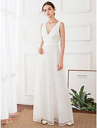 cheap -A-Line Wedding Dresses V Neck Floor Length Satin Polyester Regular Straps with 2020