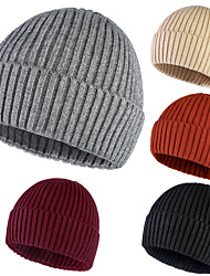 cheap -Skull Caps Running Beanie Men's Women's Solid Colored Headwear Thermal / Warm Windproof Breathable for Running Fitness Jogging Sweater Autumn / Fall Spring Winter Black Orange Burgundy