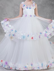 cheap -Ball Gown Court Train Pageant Flower Girl Dresses - Polyester Sleeveless Jewel Neck with Appliques