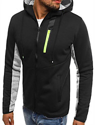 cheap -Men's Hoodie & Sweatshirt Winter Full Zip Black Cotton Running Fitness Gym Workout Top Long Sleeve Sport Activewear Thermal / Warm Windproof Breathable Soft High Elasticity