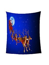 cheap -Santa Claus under a Full Moon Polyester Office Nap Coral Fleece Thickened Warm Blanket for Winter