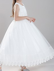 cheap -A-Line Ankle Length First Communion Flower Girl Dresses - Polyester Sleeveless Jewel Neck with Pearls
