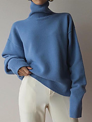 cheap -Women's Solid Colored Long Sleeve Pullover Sweater Jumper, Turtleneck Fall / Winter Blue S / M / L
