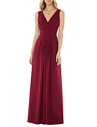 cheap -A-Line V Neck Floor Length Jersey Bridesmaid Dress with Ruching