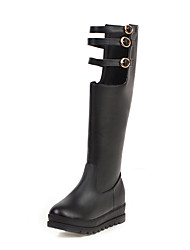 cheap -Women's Boots Creepers Round Toe PU Knee High Boots Casual / British Fall & Winter Black / White / Pink