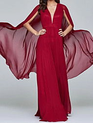 cheap -Sheath / Column Plunging Neck Watteau Train Chiffon Elegant Formal Evening Dress with 2020