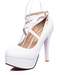 cheap -Women's Heels Stiletto Heel Round Toe PU Business / British Spring &  Fall Black / White / Party & Evening