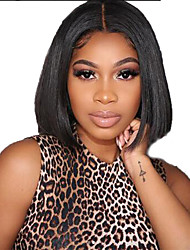cheap -Human Hair Lace Front Wig Bob Short Bob Free Part style Brazilian Hair Straight Black Wig 130% Density with Baby Hair Natural Hairline For Black Women 100% Virgin 100% Hand Tied Women's Short Human