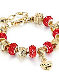 cheap -Women's Synthetic Ruby Chain Bracelet Geometrical Flower Fashion Rhinestone Bracelet Jewelry Light Purple / Red / Blue For Daily Work