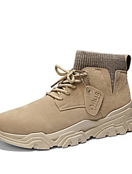 cheap -Men's Comfort Shoes Suede Fall & Winter Boots Booties / Ankle Boots Black / Beige / Gray