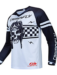 cheap -CAWANFLY Men's Long Sleeve Cycling Jersey Downhill Jersey Dirt Bike Jersey Winter Polyester White Skull Bike Jersey Top Mountain Bike MTB Thermal / Warm Breathable Quick Dry Sports Clothing Apparel