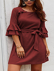 cheap -Women's Elegant A Line Dress - Solid Colored Wine Blushing Pink Navy Blue S M L XL
