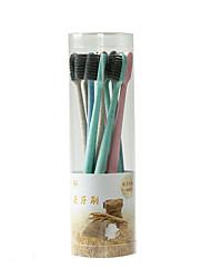 abordables -litbest 8 pcs portable doux bambou charbon de bois brosse à dents avec étui paille de blé poignée ultra fine brosse à dents à poils langue propre pour voyage