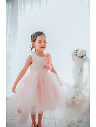 cheap -Ball Gown Asymmetrical Flower Girl Dress - Satin / Tulle Sleeveless Jewel Neck with Petal