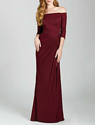 cheap -Sheath / Column Off Shoulder Floor Length Satin Bridesmaid Dress with Ruching