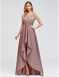 cheap -A-Line Elegant Pink Wedding Guest Cocktail Party Dress V Neck Sleeveless Asymmetrical Polyester with Crystals Beading 2020