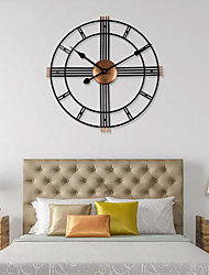 cheap -3D Circular Retro Roman Wrought Hollow Iron Vintage Large Mute Decorative Wall Clock On The Wall Decoration For Home