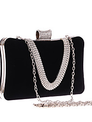 cheap -Women's Bags Polyester Evening Bag Crystals Solid Color Wedding Bags Wedding Party Event / Party Wine Black Red