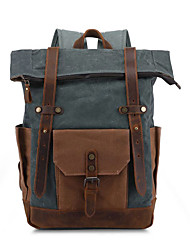 cheap -Waterproof Canvas Zipper Commuter Backpack Solid Color Outdoor Bronze / Army Green / Gray