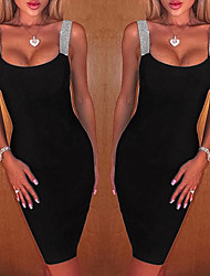 cheap -Women's Bodycon Dress - Sleeveless Solid Colored Glitter Strap Sexy New Year Going out Club Sleeveless Off Shoulder Black S M L XL / Little Black