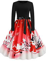 cheap -Women's Swing Dress Midi Dress Long Sleeve Print Lace up Patchwork Fall Casual Christmas 2021 White Blue Purple Red Light Brown Orange Dusty Blue Brown Light Blue S M L XL XXL