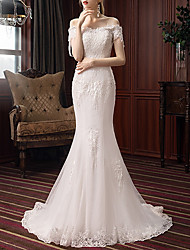 cheap -Mermaid / Trumpet Wedding Dresses Off Shoulder Sweep / Brush Train Polyester Short Sleeve with Beading Appliques 2020