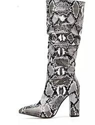 cheap -Women's Boots Chunky Heel Round Toe PU Mid-Calf Boots Winter Green / Gray