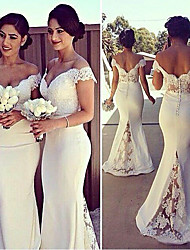 cheap -Mermaid / Trumpet Off Shoulder Sweep / Brush Train Stretch Satin Elegant / White Engagement / Formal Evening Dress with Lace Insert / Appliques 2020