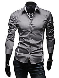 cheap -Men's Daily Weekend Business / Street chic Shirt - Solid Colored Black