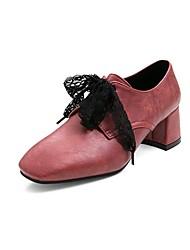 cheap -Women's Heels Chunky Heel Square Toe Bowknot PU Vintage / Casual Summer Wine / Dark Brown / Red
