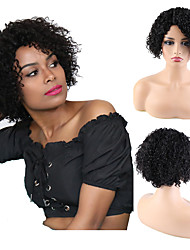 cheap -Remy Human Hair Unprocessed Virgin Hair L Part Wig Bob Pixie Cut Side Part style Brazilian Hair Peruvian Hair Afro Curly Natural Wig 150% Density Classic New Arrival 100% Virgin Women's Short Human