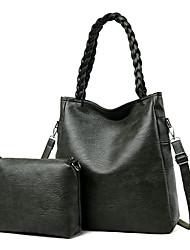 cheap -Women's Zipper Faux Leather / PU Bag Set Solid Color 2 Pieces Purse Set Black / Wine / Purple