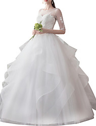 cheap -A-Line Jewel Neck Sweep / Brush Train Tulle Half Sleeve Illusion Sleeve Wedding Dresses with Appliques 2020