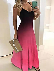 cheap -Women's Maxi Swing Dress - Sleeveless Color Block Strap Black Blue Purple S M L XL XXL XXXL XXXXL XXXXXL
