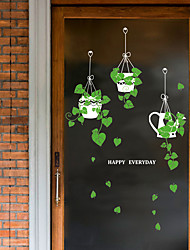 cheap -SK9343ds fresh hanging basket potted green glass door window sticker cafe decoration wall sticker