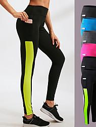 abordables -YUERLIAN Femme Taille haute Pantalon de yoga Poche Noir Noir / Blanc Vert et noir Bleu Fushia Maille Course / Running Fitness Entraînement de gym Collants Leggings Sport Tenues de Sport Butt Lift
