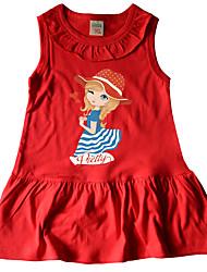 cheap -Kids Girls' Basic Cute Cartoon Sleeveless Knee-length Dress Blushing Pink