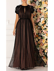 cheap -Ball Gown Empire Black Prom Formal Evening Dress Jewel Neck Short Sleeve Floor Length Chiffon with Pleats Appliques 2020