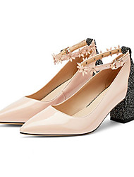 cheap -Women's Heels Chunky Heel Pointed Toe Patent Leather Business / Casual Spring &  Fall Pink / Light Grey