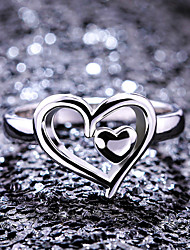cheap -Women's Band Ring Ring 1pc White Copper Silver Plated Geometric Statement Stylish Party Gift Jewelry Hollow Out Heart Cute Heart