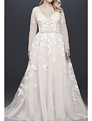 cheap -A-Line Wedding Dresses V Neck Court Train Lace Tulle Long Sleeve Illusion Sleeve with Beading Appliques 2020