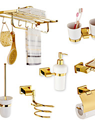 cheap -Solid Brass 7 Piece - Towel bar /Toilet Paper Holders / Towel Rings/Toilet brush/Toothbrush holder/Hair drier rack/Soap dispenser Gold Plated Brass