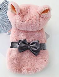 baratos -Cachorros Casacos Camisola com Capuz Inverno Roupas para Cães Rosa claro Ocasiões Especiais Algodão Laço Fantasias XS S M L XL